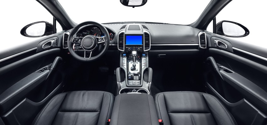 Car interior black leather and metal decoration